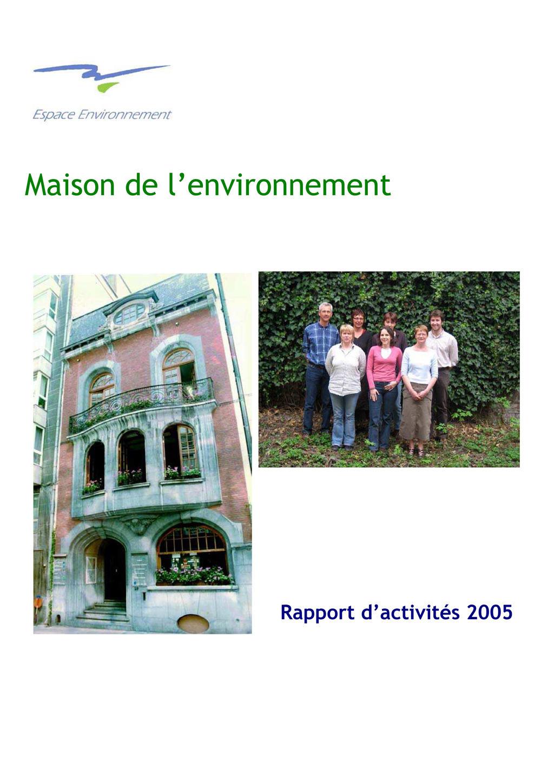 maison de l environnement rapport 2005 espace environnement. Black Bedroom Furniture Sets. Home Design Ideas