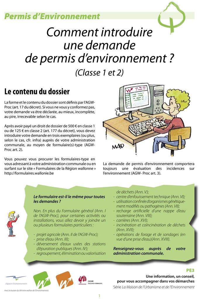 pe3   comment introduire une demande de permis d u2019environnement  classes 1 et 2     u2013 espace