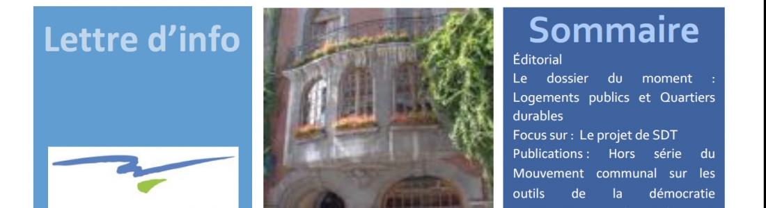Quartiers durables et logement public : la newsletter de la Maison de l'urbanisme du Hainaut est en ligne