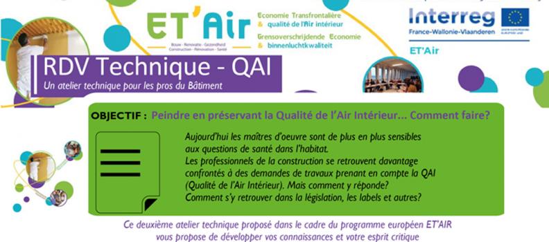 ET'Air : Rendez-vous technique «Peindre en préservant la qualité de l'air intérieur… Comment faire ? » le 23 avril à Reims