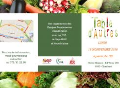 Table d'Autres le 19 novembre : partagez un repas préparé à partir d'invendus du marché